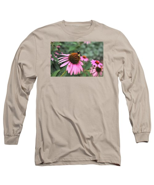 Long Sleeve T-Shirt featuring the photograph Cone Flowers And Bee by Sheila Brown