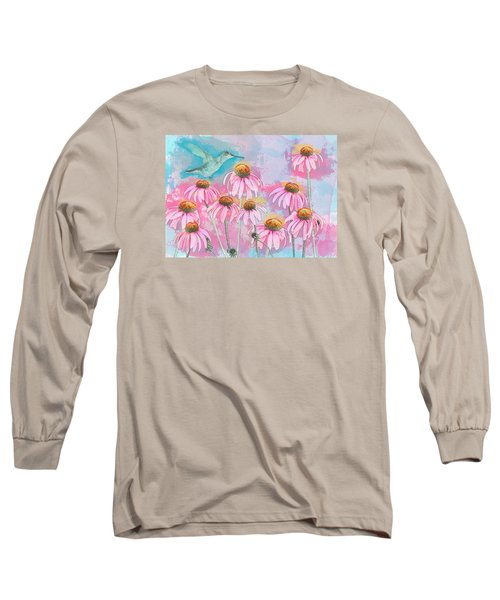 Coneflower Hummingbird Watercolor Long Sleeve T-Shirt