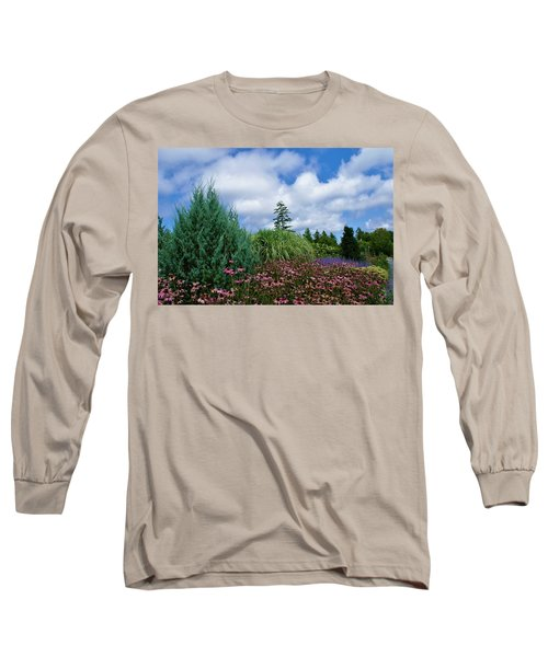Coneflowers And Clouds Long Sleeve T-Shirt by Lois Lepisto