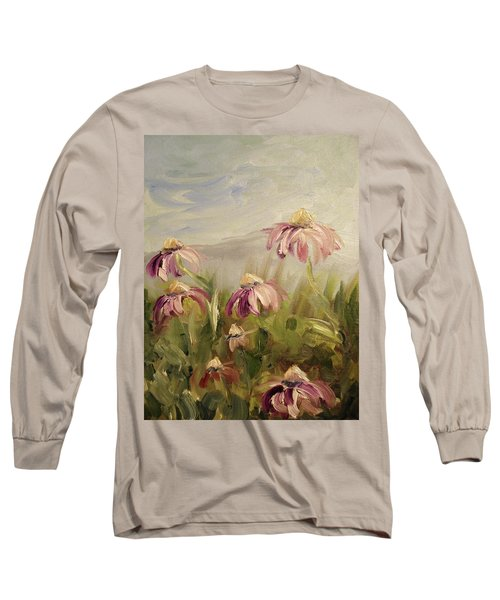 Long Sleeve T-Shirt featuring the painting Coneflowers by Donna Tuten