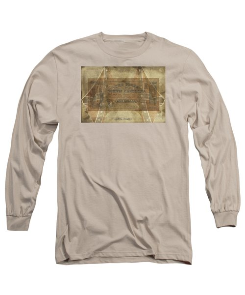 Long Sleeve T-Shirt featuring the digital art Confederate $1 North Carolina Note by Melissa Messick