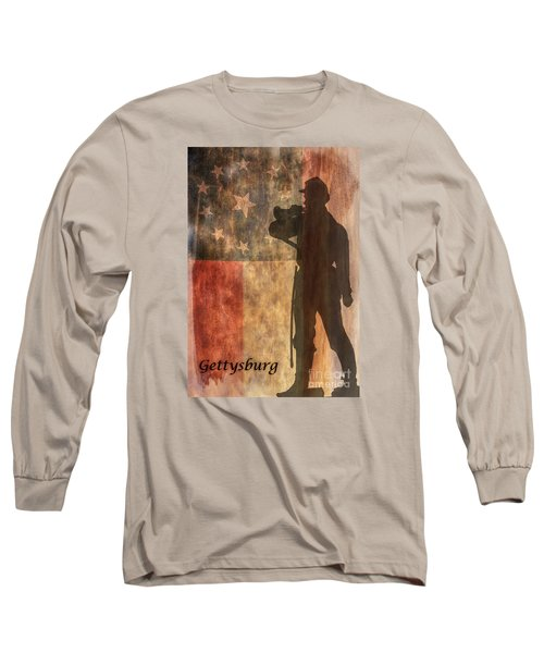 Long Sleeve T-Shirt featuring the digital art Confederate Flag And Bugler Gettysburg  by Randy Steele