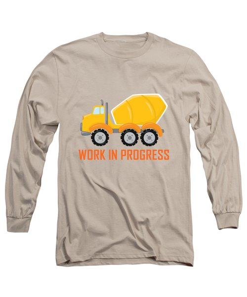 Construction Zone - Concrete Truck Work In Progress Gifts - Grey Background Long Sleeve T-Shirt