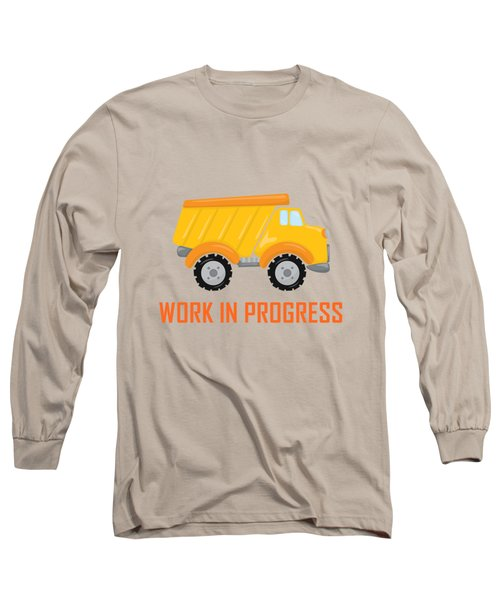 Construction Zone - Dump Truck Work In Progress Gifts - Grey Background Long Sleeve T-Shirt