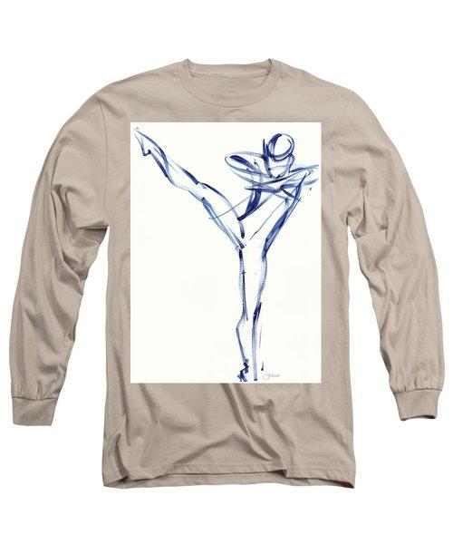Contemporary Ballet Dancer, Blue Long Sleeve T-Shirt