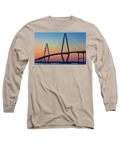 Cooper River Bridge Sunset Long Sleeve T-Shirt by Suzanne Stout