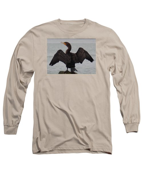 Cormorant In Bellingham Long Sleeve T-Shirt by Karen Molenaar Terrell