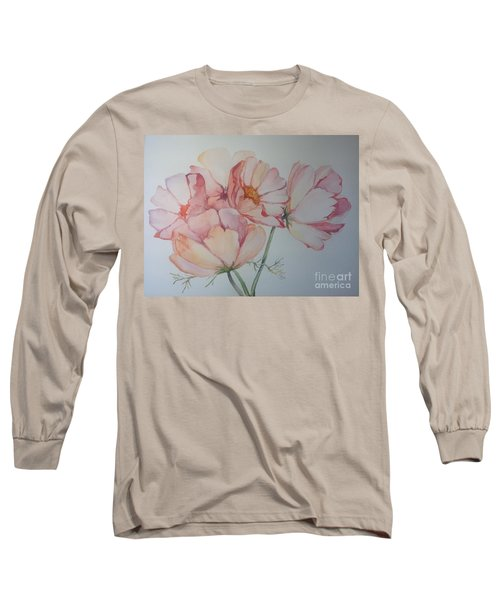 Long Sleeve T-Shirt featuring the painting Cosmea by Iya Carson
