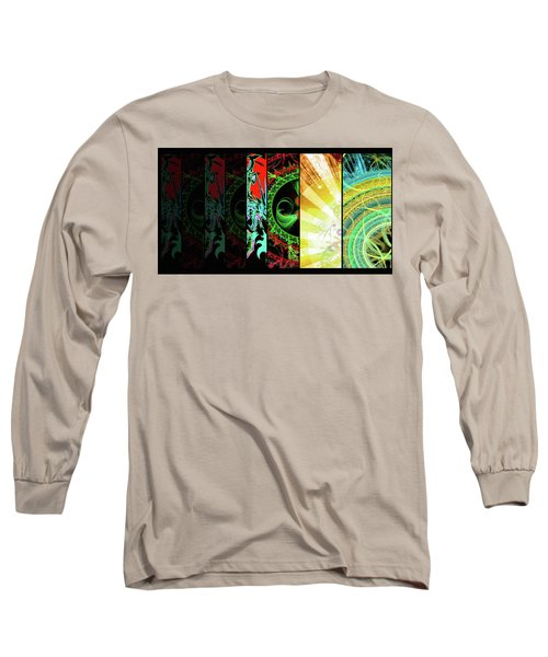 Long Sleeve T-Shirt featuring the mixed media Cosmic Collage Mosaic Right Side Flipped by Shawn Dall