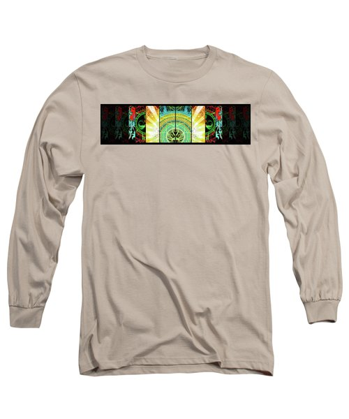 Long Sleeve T-Shirt featuring the mixed media Cosmic Collage Mosaic Right Side Mirrored by Shawn Dall
