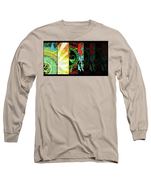 Long Sleeve T-Shirt featuring the mixed media Cosmic Collage Mosaic Right Side by Shawn Dall