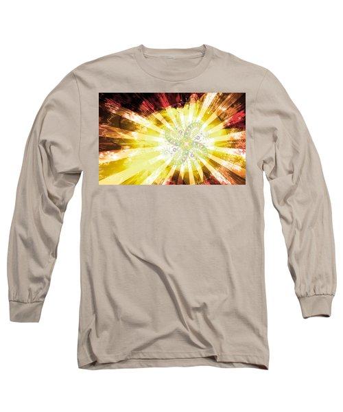 Long Sleeve T-Shirt featuring the digital art Cosmic Solar Flower Fern Flare 2 by Shawn Dall