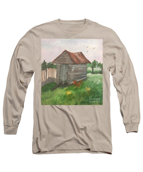 Long Sleeve T-Shirt featuring the painting Country Corncrib by Lucia Grilletto