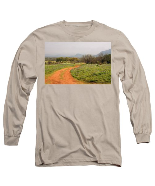 Country Road With Wild Flowers Long Sleeve T-Shirt