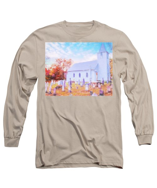 Country White Church And Old Cemetery. Long Sleeve T-Shirt