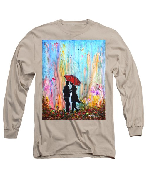 Couple On A Rainy Date Romantic Painting For Valentine Long Sleeve T-Shirt