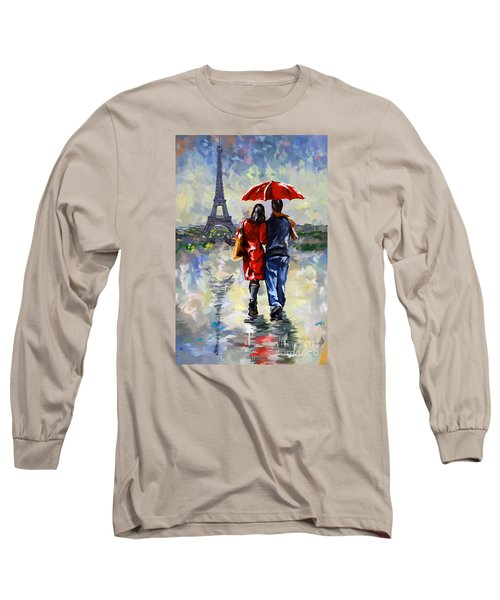 couple walking in the rain Paris Long Sleeve T-Shirt by Tim Gilliland