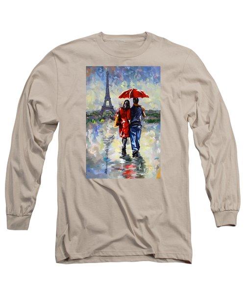 couple walking in the rain Paris Long Sleeve T-Shirt