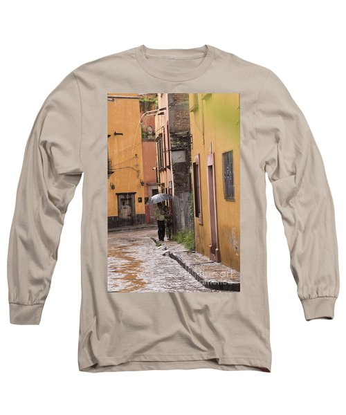 Couple Walking In The Rain Through Old San Miguel Mexico Long Sleeve T-Shirt