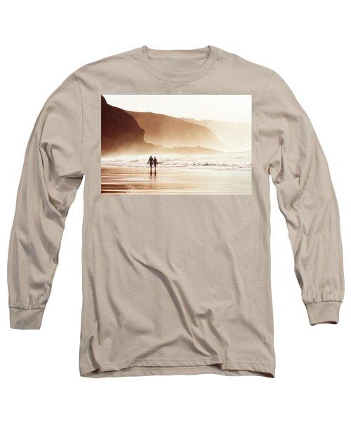 Couple Walking On Beach With Fog Long Sleeve T-Shirt