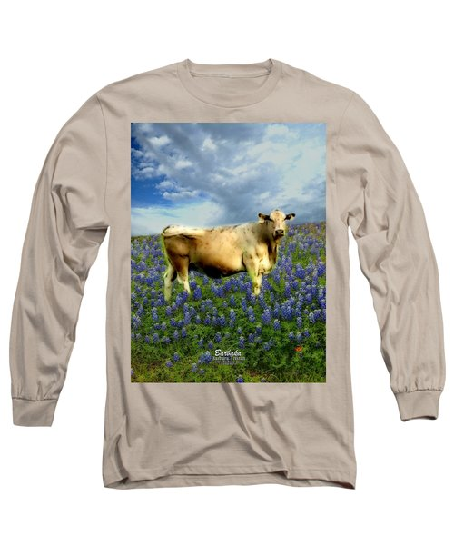 Cow And Bluebonnets Long Sleeve T-Shirt by Barbara Tristan