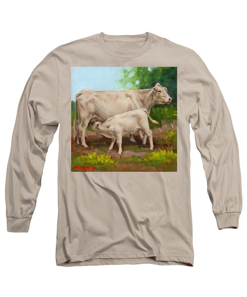 Cow  And Calf In Miniature  Long Sleeve T-Shirt