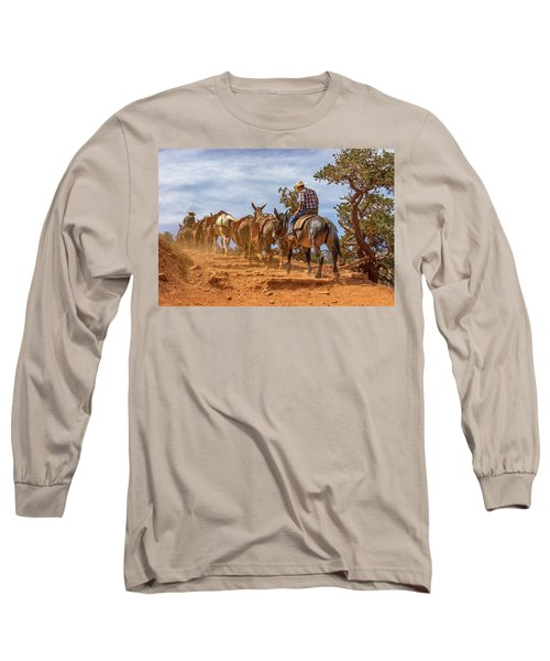 Cowboy And Mule Train On The South Kaibab Trail In The Grand Canyon Long Sleeve T-Shirt