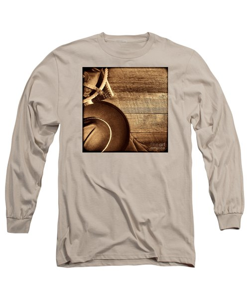 Cowboy Hat And Gear On Wood Long Sleeve T-Shirt