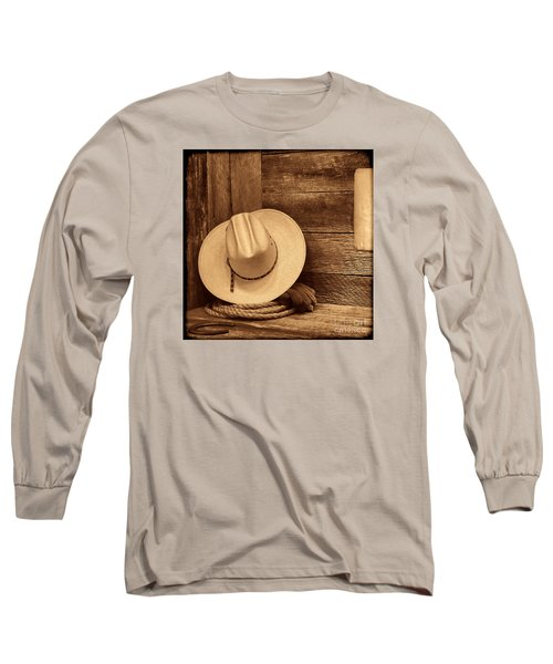 Cowboy Hat In Town Long Sleeve T-Shirt by American West Legend By Olivier Le Queinec