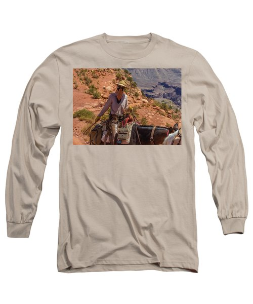 Cowgirl Leading A Mule Train On The South Kaibab Trail Long Sleeve T-Shirt