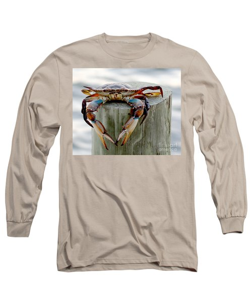 Crab Hanging Out Long Sleeve T-Shirt by Luana K Perez