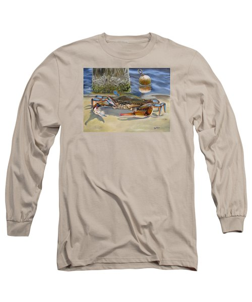 Long Sleeve T-Shirt featuring the painting Crab On The Shoreline by Phyllis Beiser