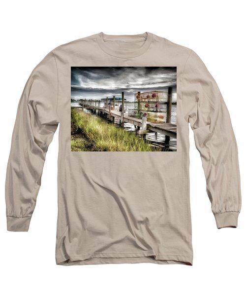 Crabber's Dock, Surf City, North Carolina Long Sleeve T-Shirt
