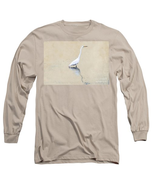 Crane In Water On Yellow Long Sleeve T-Shirt
