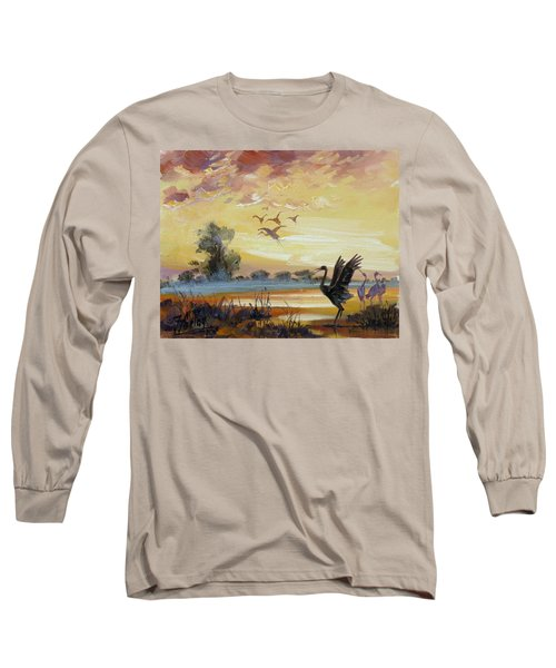 Cranes - Evening Flight Long Sleeve T-Shirt by Irek Szelag
