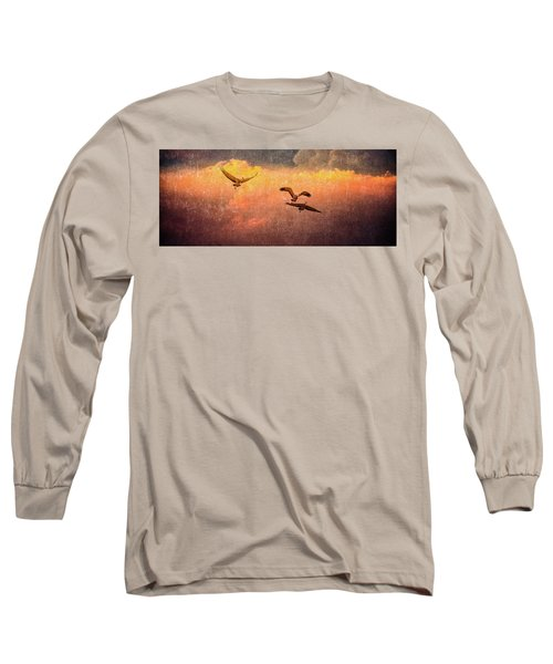 Cranes Lifting Into The Sky Long Sleeve T-Shirt