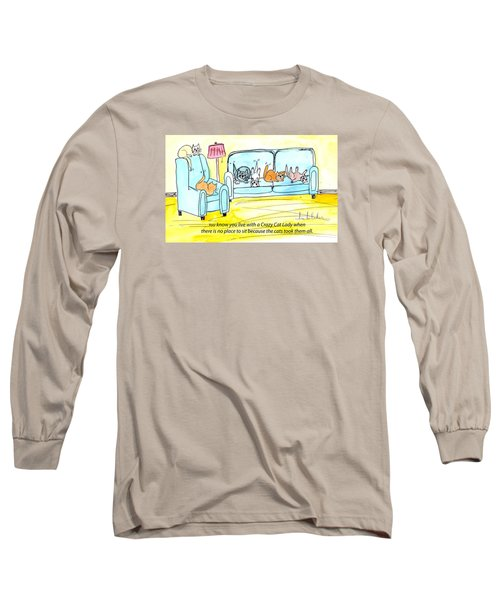 Long Sleeve T-Shirt featuring the painting Crazy Cat Lady 0004 by Lou Belcher