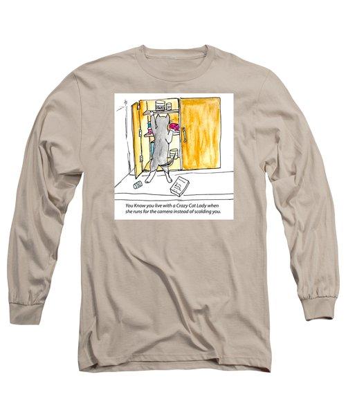 Crazy Cat Lady 001 Long Sleeve T-Shirt by Lou Belcher