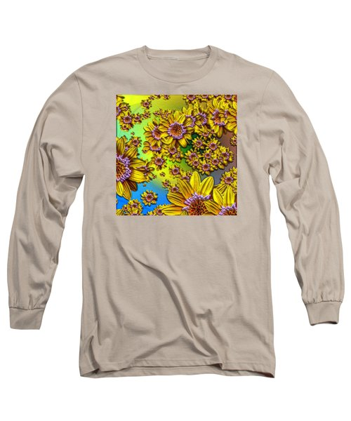 Crazy Daisies Long Sleeve T-Shirt by Nick Kloepping