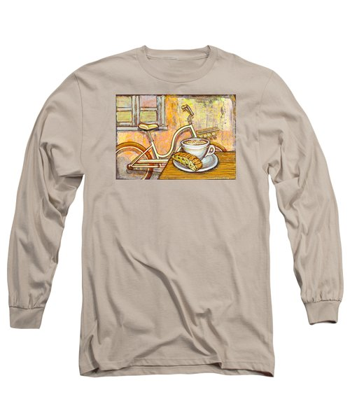 Cream Electra Town Bicycle With Cappuccino And Biscotti Long Sleeve T-Shirt by Mark Jones
