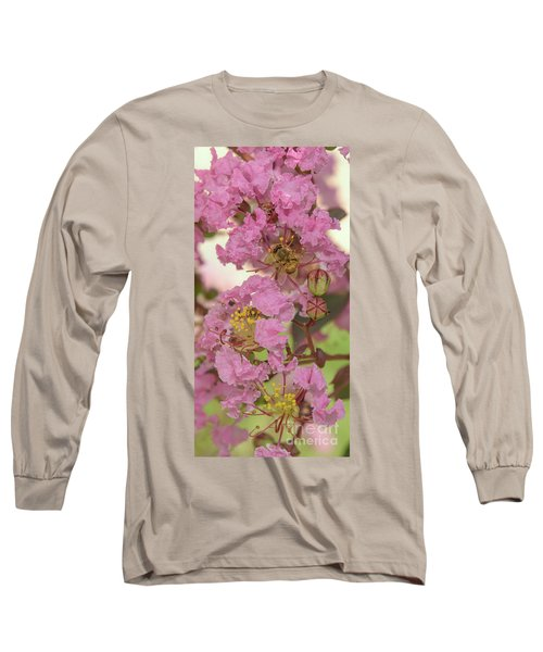 Crepe Myrtle And Bee Long Sleeve T-Shirt by Olga Hamilton