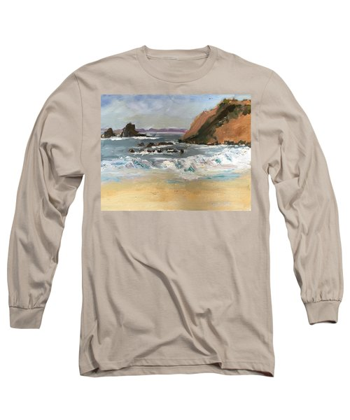 Crescent Beach At Laguna  Long Sleeve T-Shirt by MaryAnne Ardito