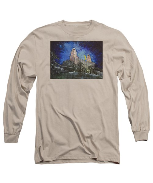 Long Sleeve T-Shirt featuring the painting Crescent Moon by Jane Autry