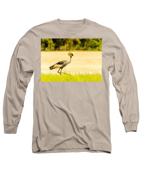 Crested Crane Long Sleeve T-Shirt by Patrick Kain