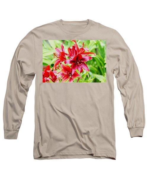Crimson Lilies Long Sleeve T-Shirt