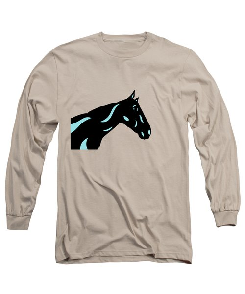 Crimson - Pop Art Horse - Black, Island Paradise Blue, Primrose Yellow Long Sleeve T-Shirt
