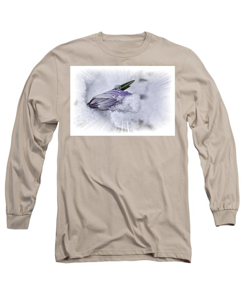 Crocus Pushing Through Snow Long Sleeve T-Shirt by Constantine Gregory