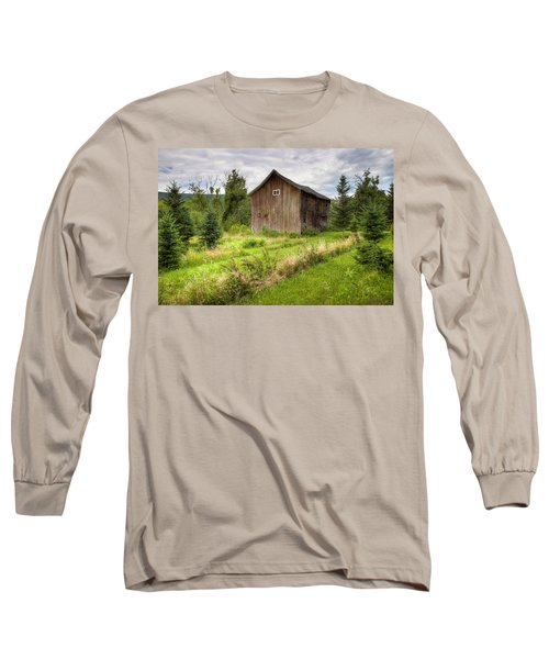 Long Sleeve T-Shirt featuring the photograph Crooked Old Barn On South 21 - Finger Lakes New York State by Gary Heller