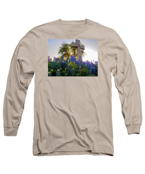 Da225 Cross And Texas Bluebonnets Daniel Adams Long Sleeve T-Shirt