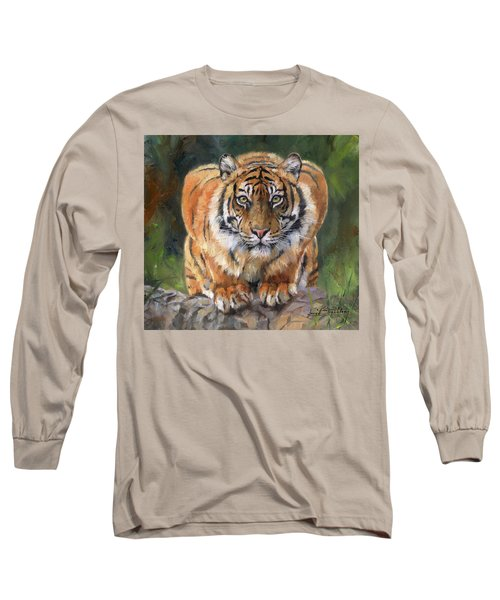 Long Sleeve T-Shirt featuring the painting Crouching Tiger by David Stribbling